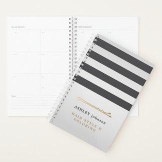 Elegant Faux Metal Grey Stripes Hair Stylist Planner