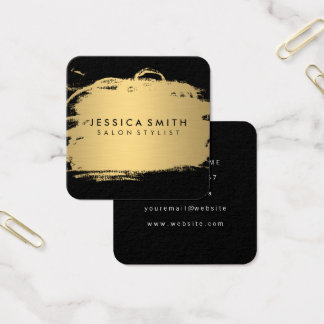 Elegant Faux Metallic Gold and Black Square Business Card