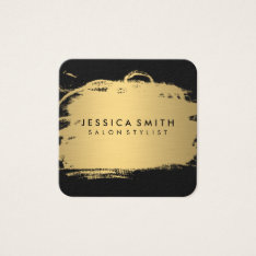 Elegant Faux Metallic Gold And Black Square Business Card at Zazzle