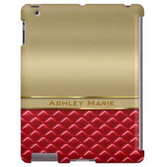 Elegant Faux Metallic Gold Quilted Red Leather