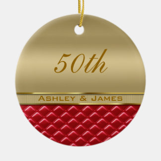 Elegant Faux Metallic Gold Quilted Red Leather Ceramic Ornament