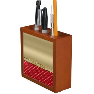 Elegant Faux Metallic Gold Quilted Red Leather Pencil/Pen Holder