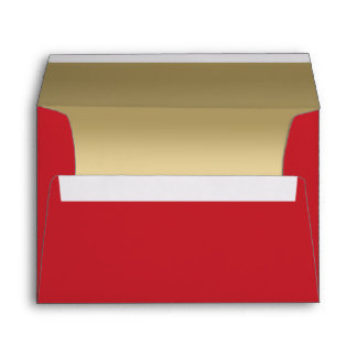 Elegant Faux Metallic Gold Quilted Red Leather Envelope