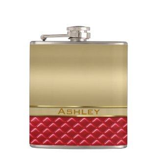 Elegant Faux Metallic Gold Quilted Red Leather Hip Flasks