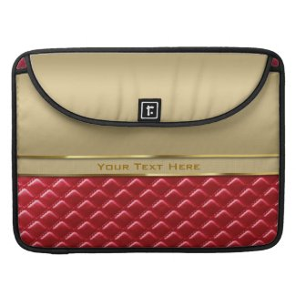 Elegant Faux Metallic Gold Quilted Red Leather MacBook Pro Sleeves