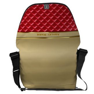 Elegant Faux Metallic Gold Quilted Red Leather Courier Bag