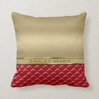 Elegant Faux Metallic Gold Quilted Red Leather Pillow