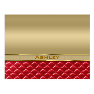Elegant Faux Metallic Gold Quilted Red Leather Postcard