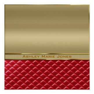 Elegant Faux Metallic Gold Quilted Red Leather Posters