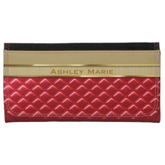 Elegant Faux Metallic Gold Quilted Red Leather Wallets