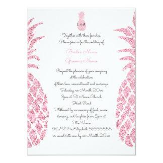 elegant faux  pink glitter tropical summer wedding card
