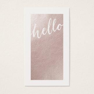 Elegant faux pink rose gold foil chic hello modern business card