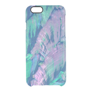 Elegant Faux Pink Turquoise Abalone Shell Pattern Clear iPhone 6/6S Case