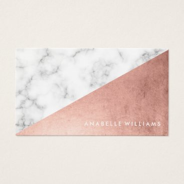 heartlocked Elegant Faux Rose Gold and Marble Business Card