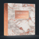 """elegant faux rose gold and  white grey marble 3 ring binder<br><div class=""""desc"""">elegant marble look binder</div>"""