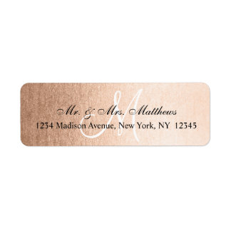 Elegant Faux Rose Gold Black Monogram Wedding Label