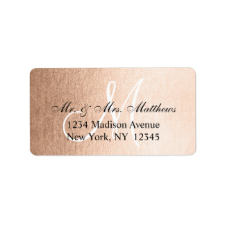 Elegant Faux Rose Gold Black Monogram Wedding Label