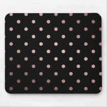 elegant faux rose gold black polka dots mouse pad