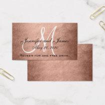 Elegant Faux Rose Gold Black Wedding Drink Card