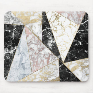 Elegant faux rose gold black white chic marble mouse pad
