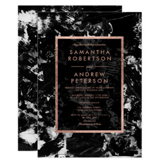 Elegant faux rose gold black white paint wedding card
