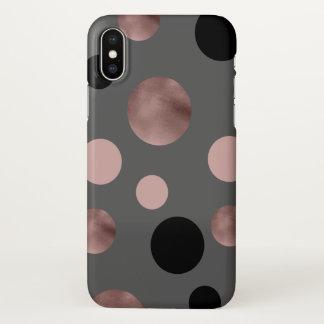 elegant faux rose gold blush pink black circles iPhone x case