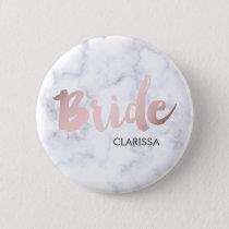 "elegant faux rose gold ""bride"" white marble pinback button"