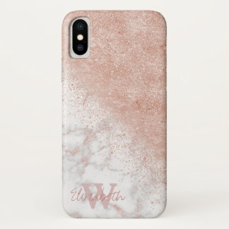 Elegant faux rose gold confetti white marble image iPhone x case