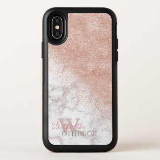 Elegant faux rose gold confetti white marble image OtterBox symmetry iPhone x case