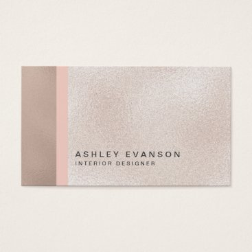 Beach Themed Elegant Faux Rose Gold Foil Colorblock Pattern Business Card