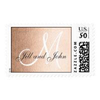 Elegant Faux Rose Gold Foil Monogram Wedding Postage