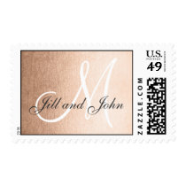 Elegant Faux Rose Gold Foil Monogram Wedding Postage