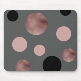elegant faux rose gold foil pink black circles mouse pad