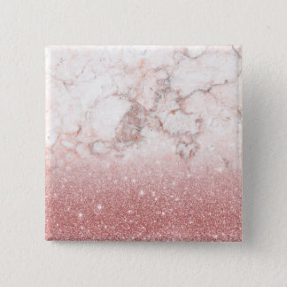 Elegant Faux Rose Gold Glitter White Marble Ombre Button