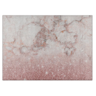 Elegant Faux Rose Gold Glitter White Marble Ombre Cutting Board