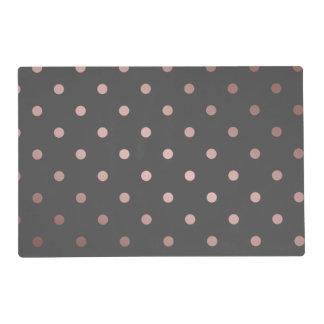 elegant faux rose gold grey polka dots placemat