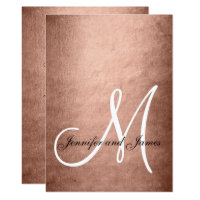 Elegant Faux Rose Gold Monogram Wedding Card