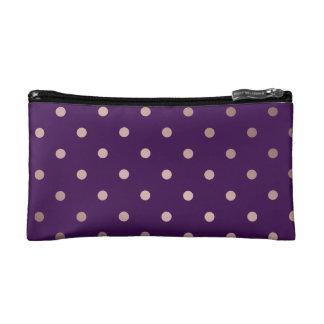 elegant faux rose gold purple polka dots makeup bag