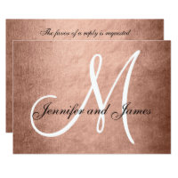 Elegant Faux Rose Gold Wedding RSVP Card Monogram