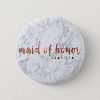 elegant faux rose gold white marble maid of honor button