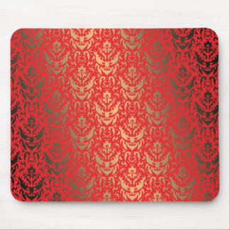 Elegant Faux Shimmer Gold and Red Damask Mouse Pad