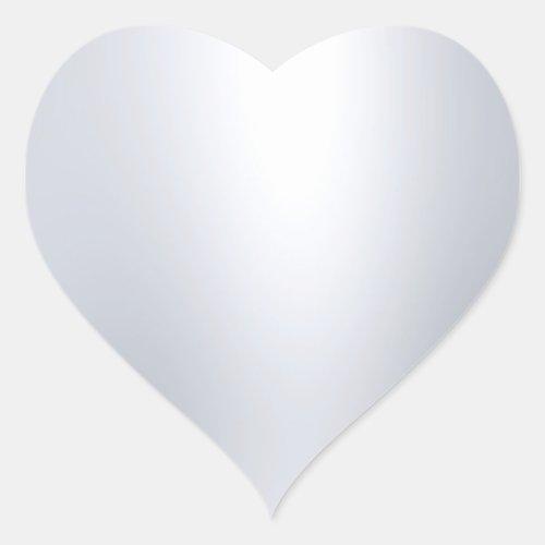 Elegant Faux Silver Blank Template Glamour Look Heart Sticker