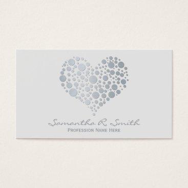 Professional Business Elegant Faux Silver Foil Heart Business Card