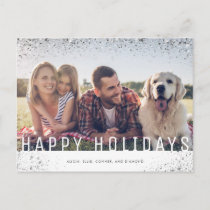 Elegant Faux Silver Glitter | Happy Holidays Holiday Postcard