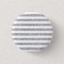 Elegant Faux Silver Glitter Stripe Pattern Pinback Button