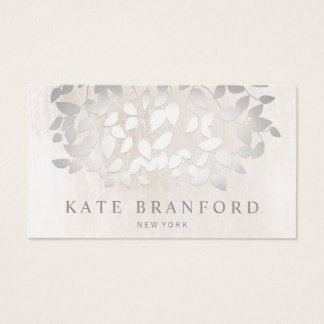 Day spa business cards templates zazzle elegant faux silver leaves on white marble business card reheart Choice Image