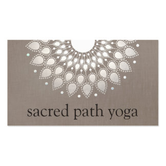 Elegant Faux Silver Ornate Lotus Mandala Business Card