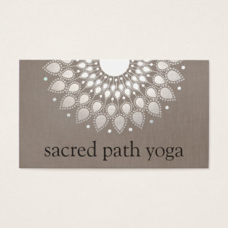 Elegant Faux Silver Ornate Lotus Mandala Business Card