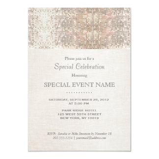 Elegant Faux Silver Sequins Beige Linen Look Card