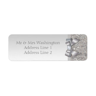 Elegant Faux Silver Sequins Bow and Diamond Label